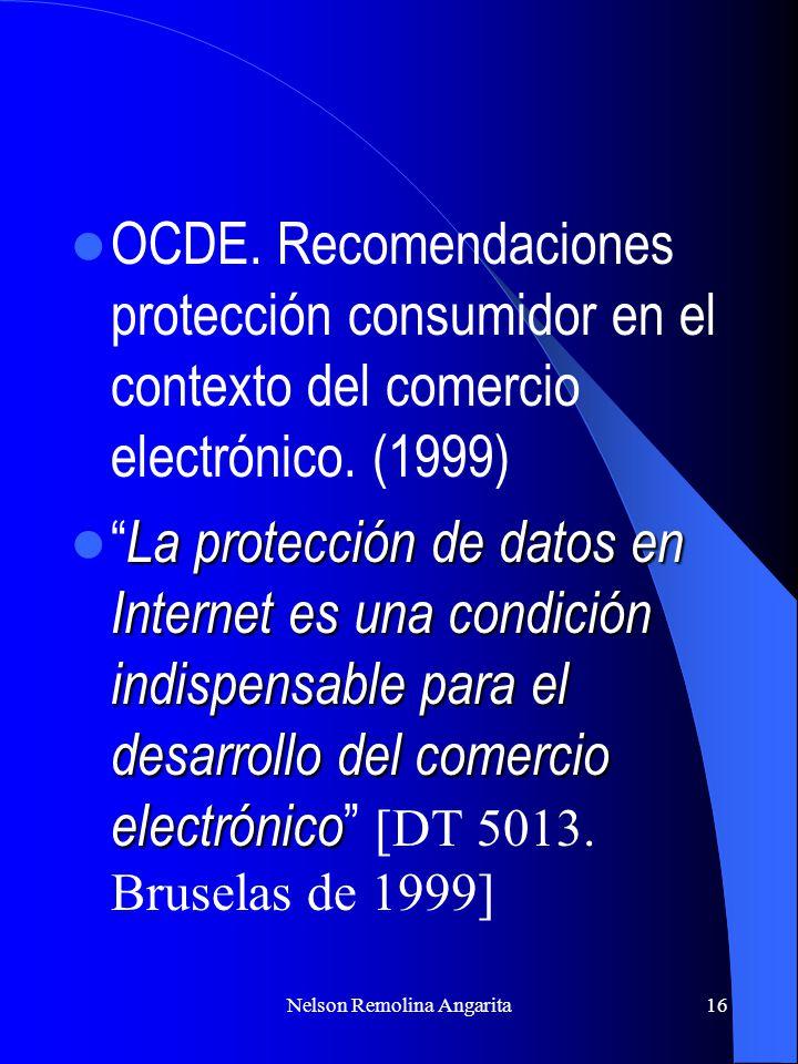 Nelson Remolina Angarita16 OCDE. Recomendaciones protección consumidor en el contexto del comercio electrónico. (1999) La protección de datos en Inter
