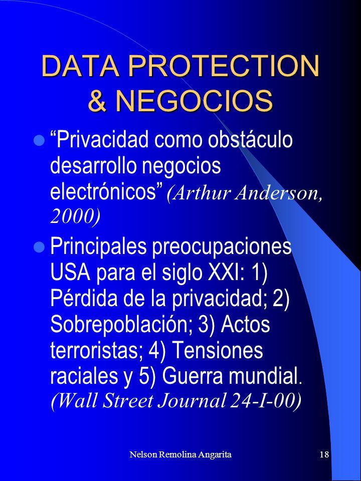 Nelson Remolina Angarita18 DATA PROTECTION & NEGOCIOS Privacidad como obstáculo desarrollo negocios electrónicos (Arthur Anderson, 2000) Principales p