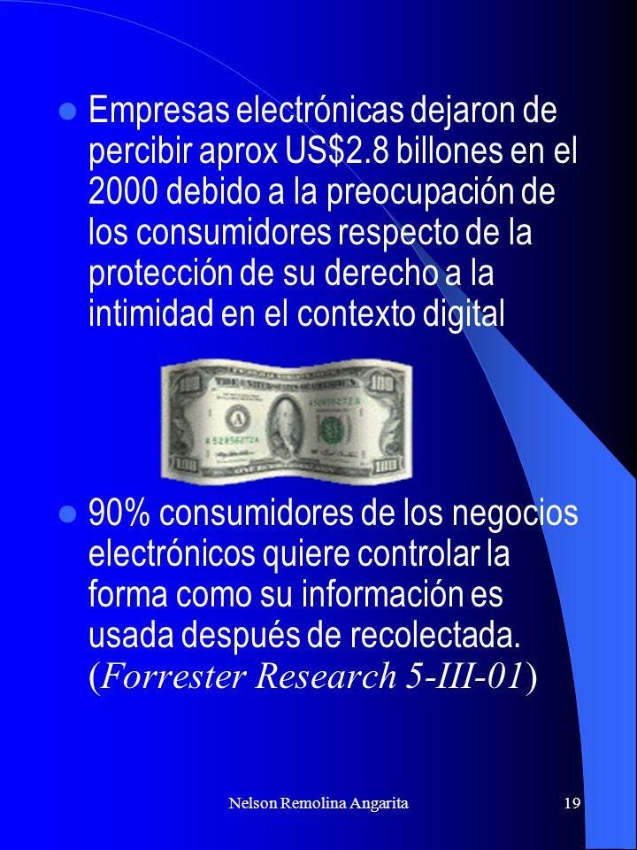 Nelson Remolina Angarita19 Empresas electrónicas dejaron de percibir aprox US$2.8 billones en el 2000 debido a la preocupación de los consumidores res