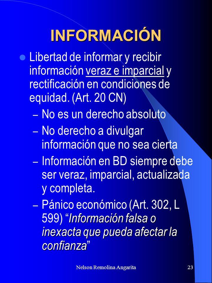 Nelson Remolina Angarita23 INFORMACIÓN Libertad de informar y recibir información veraz e imparcial y rectificación en condiciones de equidad. (Art. 2