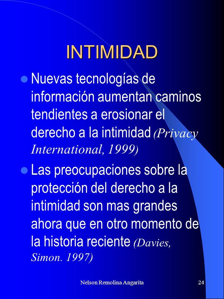 Nelson Remolina Angarita24 INTIMIDAD Nuevas tecnologías de información aumentan caminos tendientes a erosionar el derecho a la intimidad ( Privacy Int