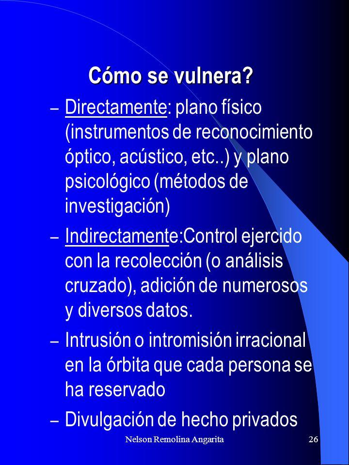 Nelson Remolina Angarita26 Cómo se vulnera? – Directamente: plano físico (instrumentos de reconocimiento óptico, acústico, etc..) y plano psicológico