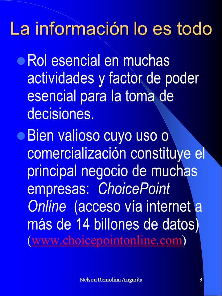 Nelson Remolina Angarita4 INTERNET Utilización infraestructura suele estar directamente basada en el tratamiento de datos personales Nuevas posibilidades de distribución de información Tecnología evoluciona rápidamente Actores nuevos y proceso de redefinición de límites tradicionales Dimensión global