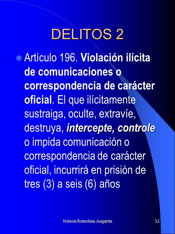 Nelson Remolina Angarita32 DELITOS 2 intercepte, controle Artículo 196. Violación ilícita de comunicaciones o correspondencia de carácter oficial. El