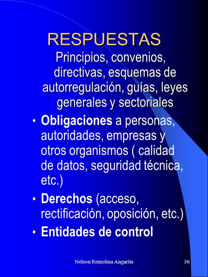 Nelson Remolina Angarita36 RESPUESTAS Principios, convenios, directivas, esquemas de autorregulación, guías, leyes generales y sectoriales Obligacione