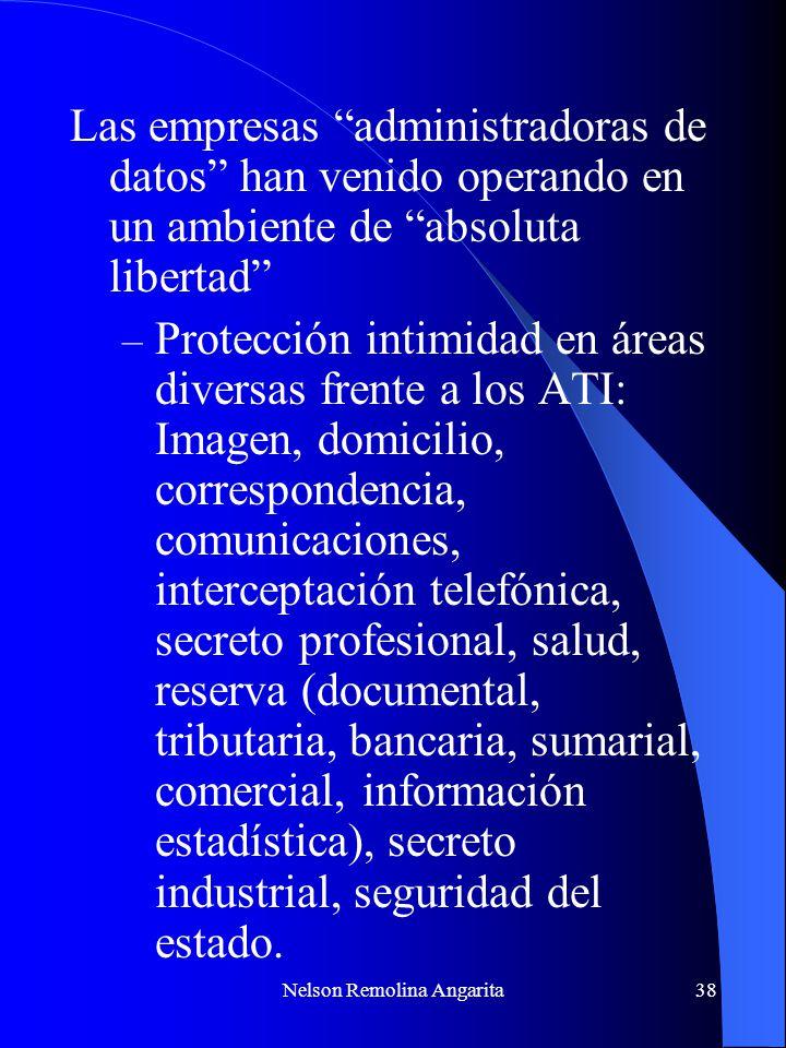 Nelson Remolina Angarita38 Las empresas administradoras de datos han venido operando en un ambiente de absoluta libertad – Protección intimidad en áre
