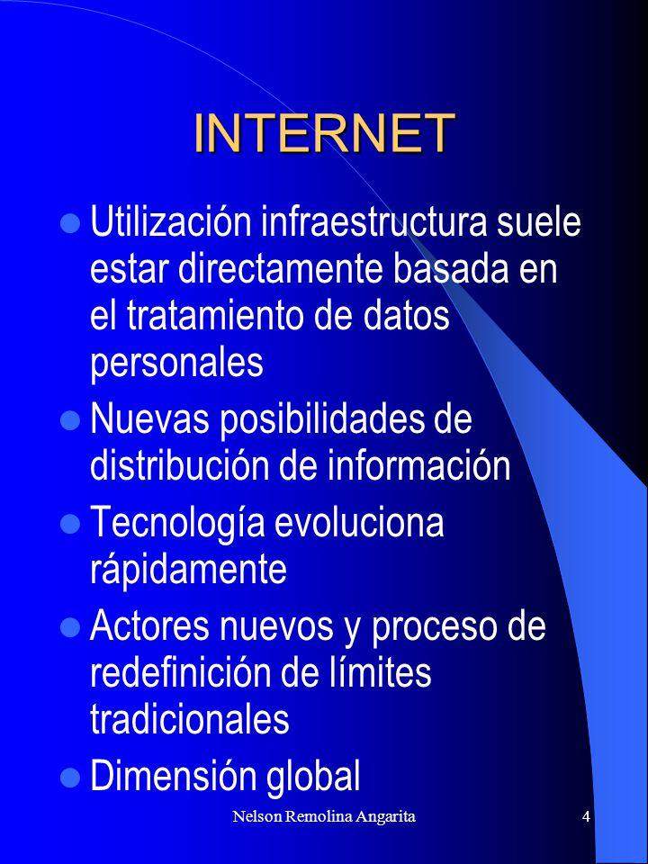Nelson Remolina Angarita4 INTERNET Utilización infraestructura suele estar directamente basada en el tratamiento de datos personales Nuevas posibilida