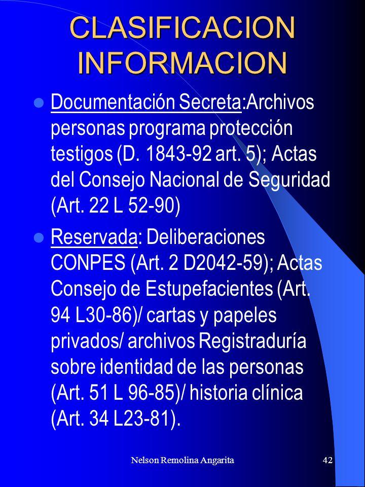Nelson Remolina Angarita42 CLASIFICACION INFORMACION Documentación Secreta:Archivos personas programa protección testigos (D. 1843-92 art. 5); Actas d