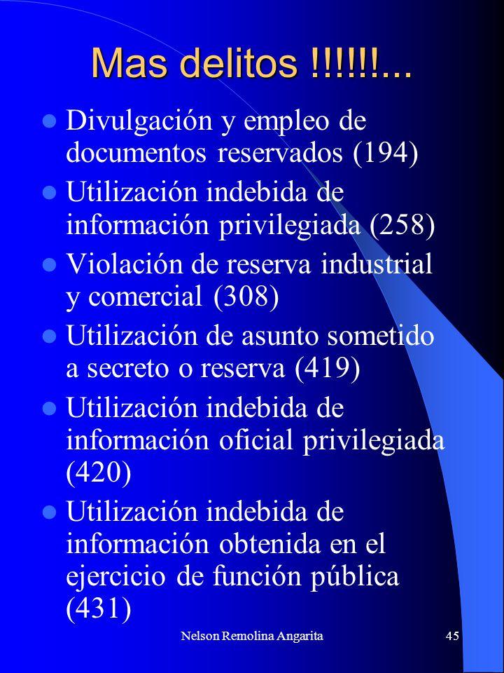 Nelson Remolina Angarita45 Mas delitos !!!!!!... Divulgación y empleo de documentos reservados (194) Utilización indebida de información privilegiada