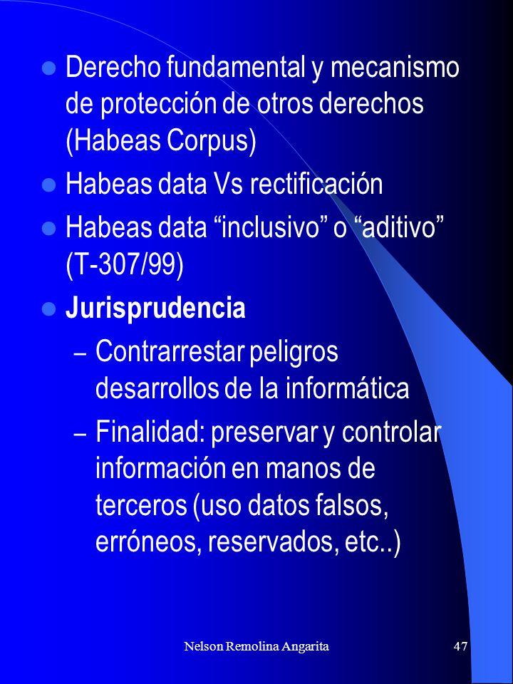 Nelson Remolina Angarita47 Derecho fundamental y mecanismo de protección de otros derechos (Habeas Corpus) Habeas data Vs rectificación Habeas data in