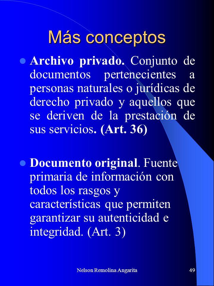 Nelson Remolina Angarita49 Más conceptos Archivo privado. Conjunto de documentos pertenecientes a personas naturales o jurídicas de derecho privado y