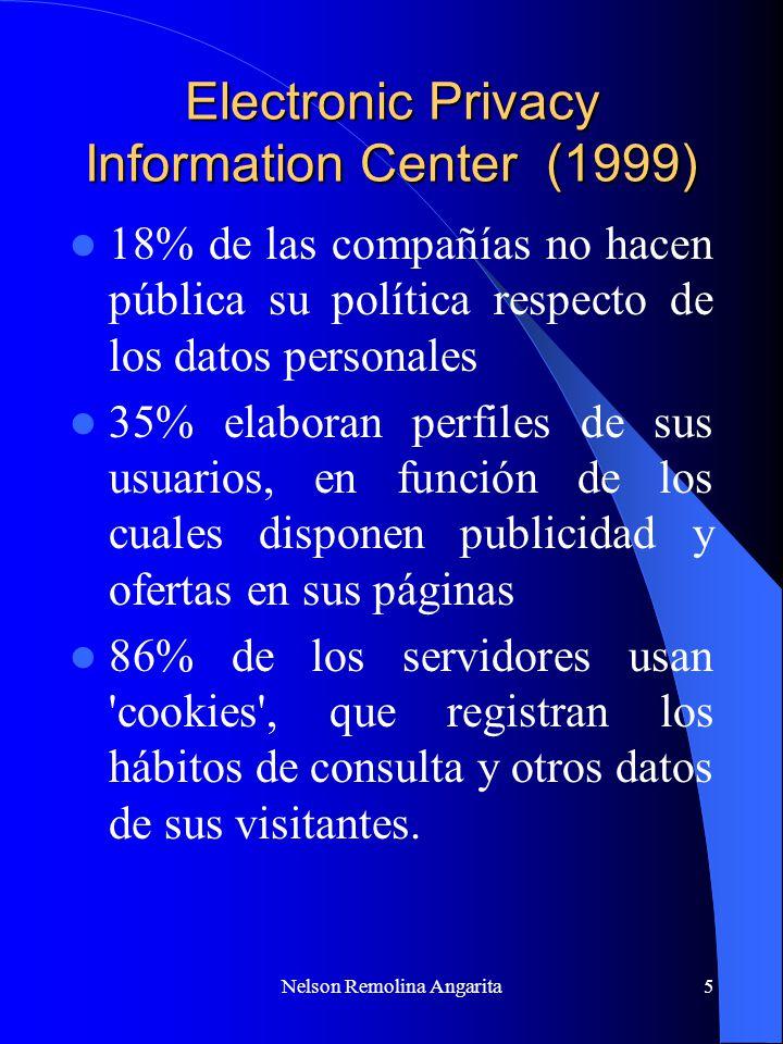Nelson Remolina Angarita6 No cumplimiento protocolo de buenas prácticas desarrollado por la institución Elaboración de perfiles de usuario y técnicas de marketing son cada vez más exhaustivas y se entrometen en la privacidad del usuario ********* 90% de los web sites no cumplen sus políticas de privacidad (Washigton Post.