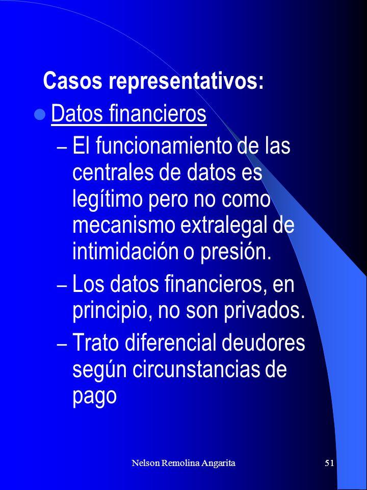 Nelson Remolina Angarita51 Casos representativos: Datos financieros – El funcionamiento de las centrales de datos es legítimo pero no como mecanismo e