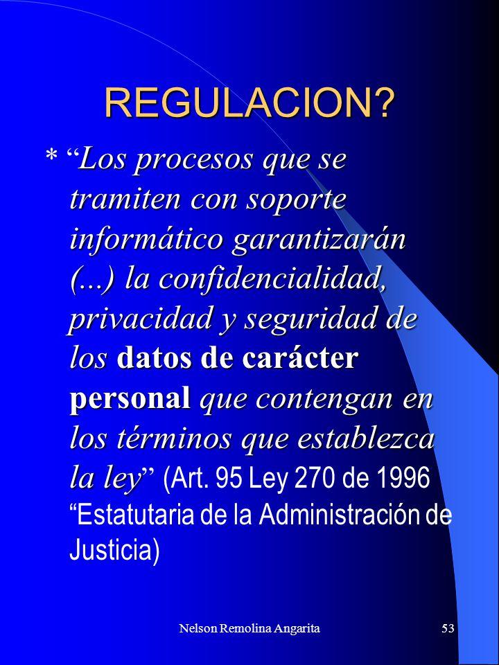 Nelson Remolina Angarita53 REGULACION? Los procesos que se tramiten con soporte informático garantizarán (...) la confidencialidad, privacidad y segur