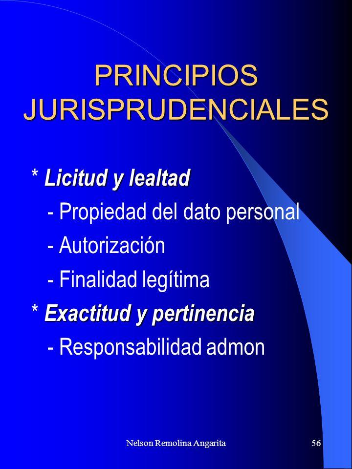 Nelson Remolina Angarita56 PRINCIPIOS JURISPRUDENCIALES Licitud y lealtad * Licitud y lealtad - Propiedad del dato personal - Autorización - Finalidad