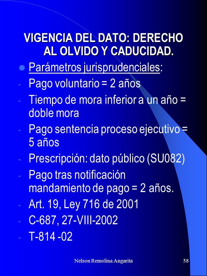Nelson Remolina Angarita58 VIGENCIA DEL DATO: DERECHO AL OLVIDO Y CADUCIDAD. Parámetros jurisprudenciales: - Pago voluntario = 2 años - Tiempo de mora