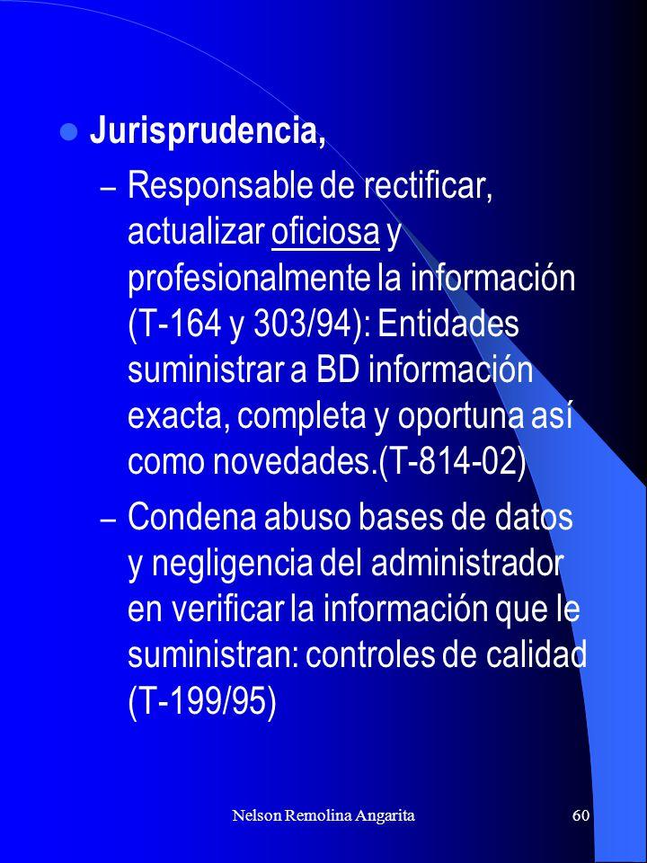 Nelson Remolina Angarita60 Jurisprudencia, – Responsable de rectificar, actualizar oficiosa y profesionalmente la información (T-164 y 303/94): Entida