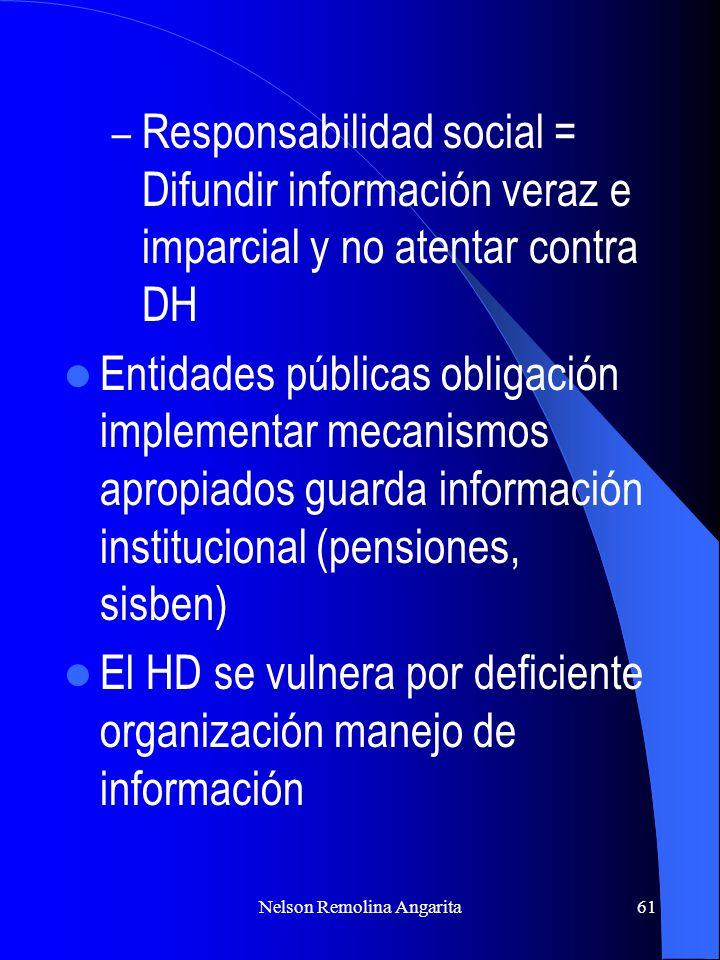 Nelson Remolina Angarita61 – Responsabilidad social = Difundir información veraz e imparcial y no atentar contra DH Entidades públicas obligación impl