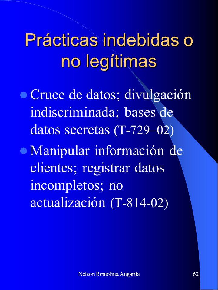 Nelson Remolina Angarita62 Prácticas indebidas o no legítimas Cruce de datos; divulgación indiscriminada; bases de datos secretas (T-729–02) Manipular