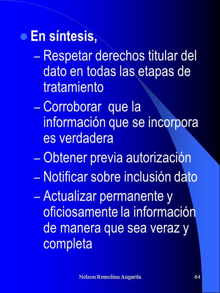 Nelson Remolina Angarita64 En síntesis, – Respetar derechos titular del dato en todas las etapas de tratamiento – Corroborar que la información que se