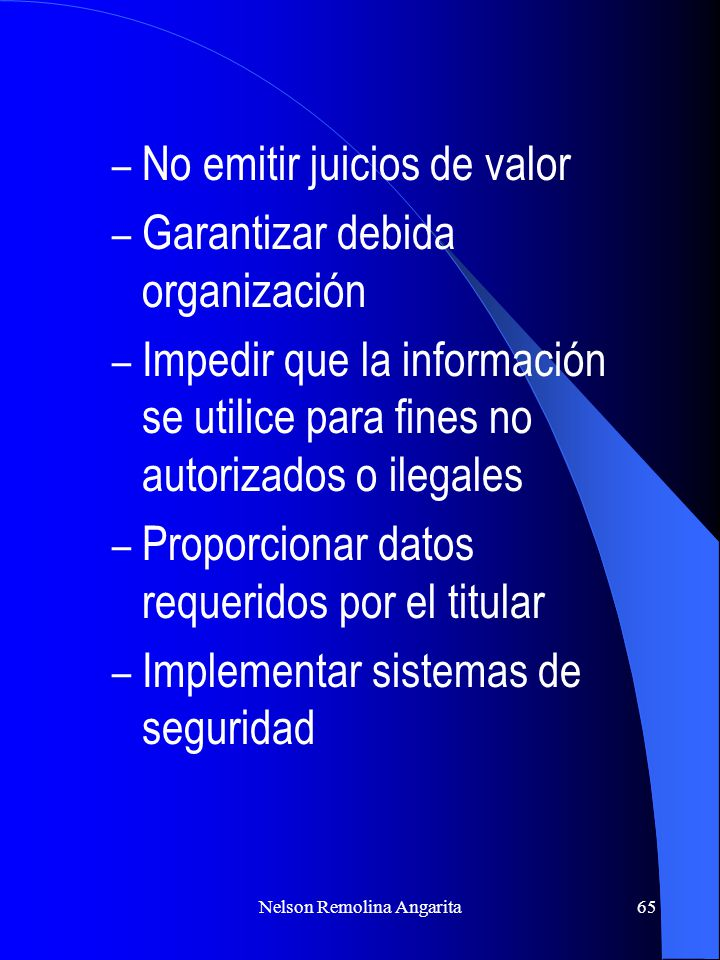 Nelson Remolina Angarita65 – No emitir juicios de valor – Garantizar debida organización – Impedir que la información se utilice para fines no autoriz