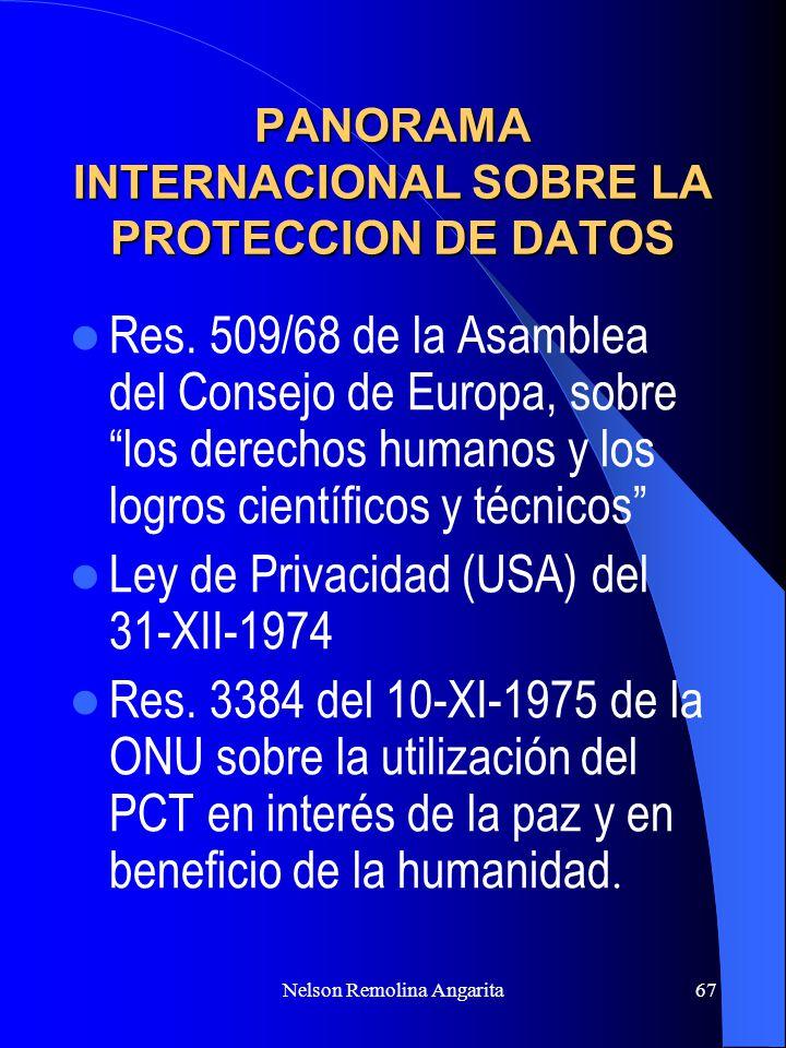 Nelson Remolina Angarita67 PANORAMA INTERNACIONAL SOBRE LA PROTECCION DE DATOS Res. 509/68 de la Asamblea del Consejo de Europa, sobre los derechos hu