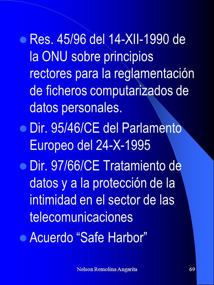 Nelson Remolina Angarita69 Res. 45/96 del 14-XII-1990 de la ONU sobre principios rectores para la reglamentación de ficheros computarizados de datos p