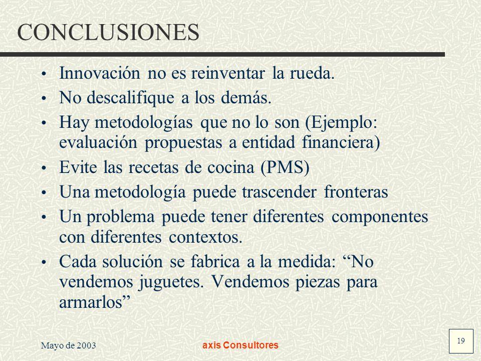 19 Mayo de 2003axis Consultores CONCLUSIONES Innovación no es reinventar la rueda. No descalifique a los demás. Hay metodologías que no lo son (Ejempl