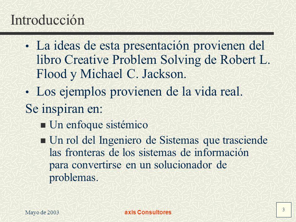 3 Mayo de 2003axis Consultores Introducción La ideas de esta presentación provienen del libro Creative Problem Solving de Robert L. Flood y Michael C.
