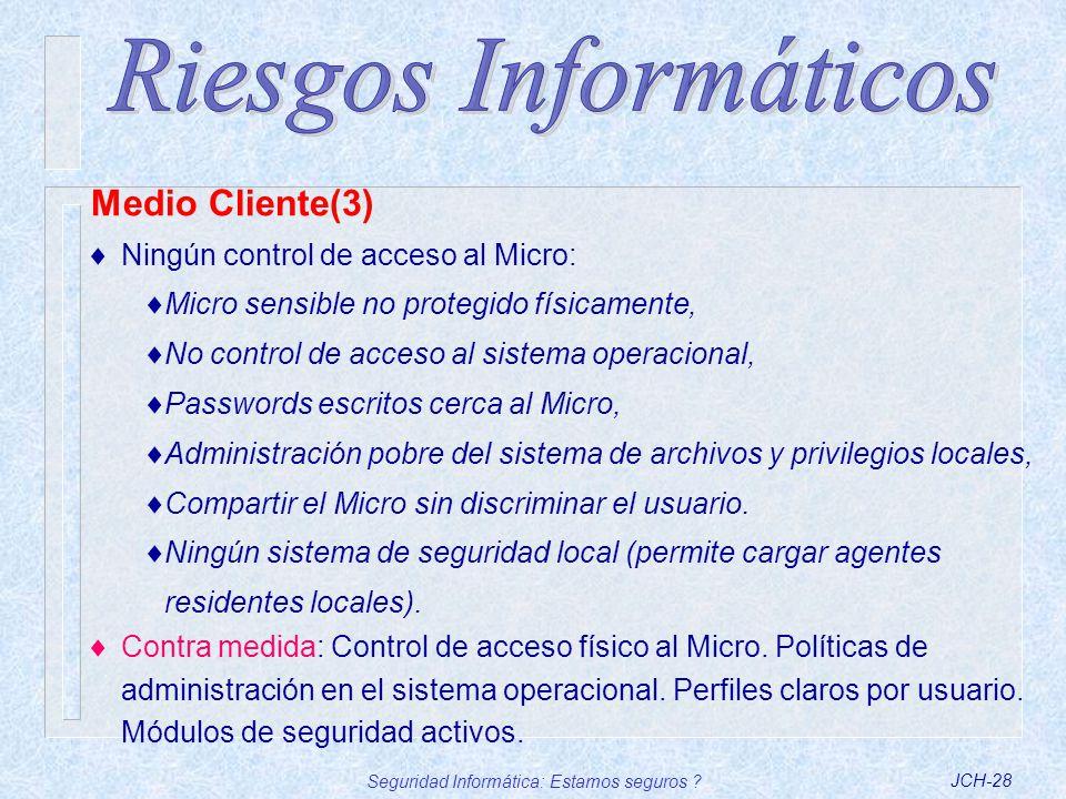 Seguridad Informática: Estamos seguros ?JCH-28 Ningún control de acceso al Micro: Micro sensible no protegido físicamente, No control de acceso al sis
