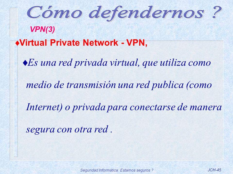 Seguridad Informática: Estamos seguros ?JCH-45 Virtual Private Network - VPN, Es una red privada virtual, que utiliza como medio de transmisión una re
