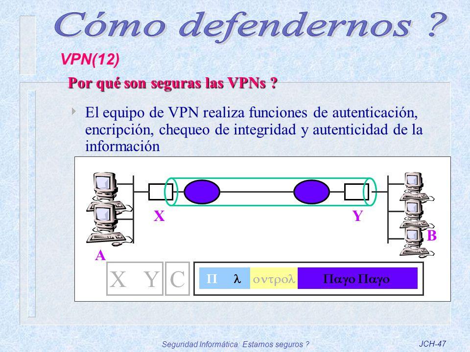 Seguridad Informática: Estamos seguros ?JCH-47 El equipo de VPN realiza funciones de autenticación, encripción, chequeo de integridad y autenticidad d