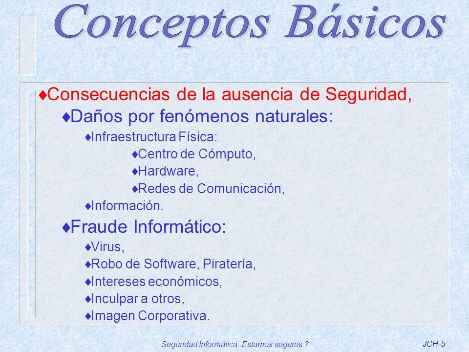 Seguridad Informática: Estamos seguros ?JCH-6 Circunstancias que motivan el Fraude, Oportunidad, Baja probabilidad de detección, Grado de conocimiento del sistema, herramientas y sitios sobre vulnerabilidades, Justificación, Ego personal.