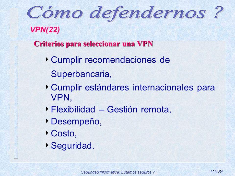Seguridad Informática: Estamos seguros ?JCH-51 Criterios para seleccionar una VPN Cumplir recomendaciones de Superbancaria, Cumplir estándares interna