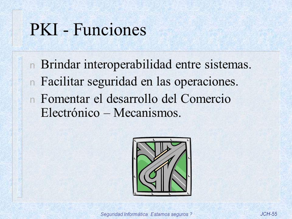 Seguridad Informática: Estamos seguros ?JCH-55 PKI - Funciones n Brindar interoperabilidad entre sistemas. n Facilitar seguridad en las operaciones. n