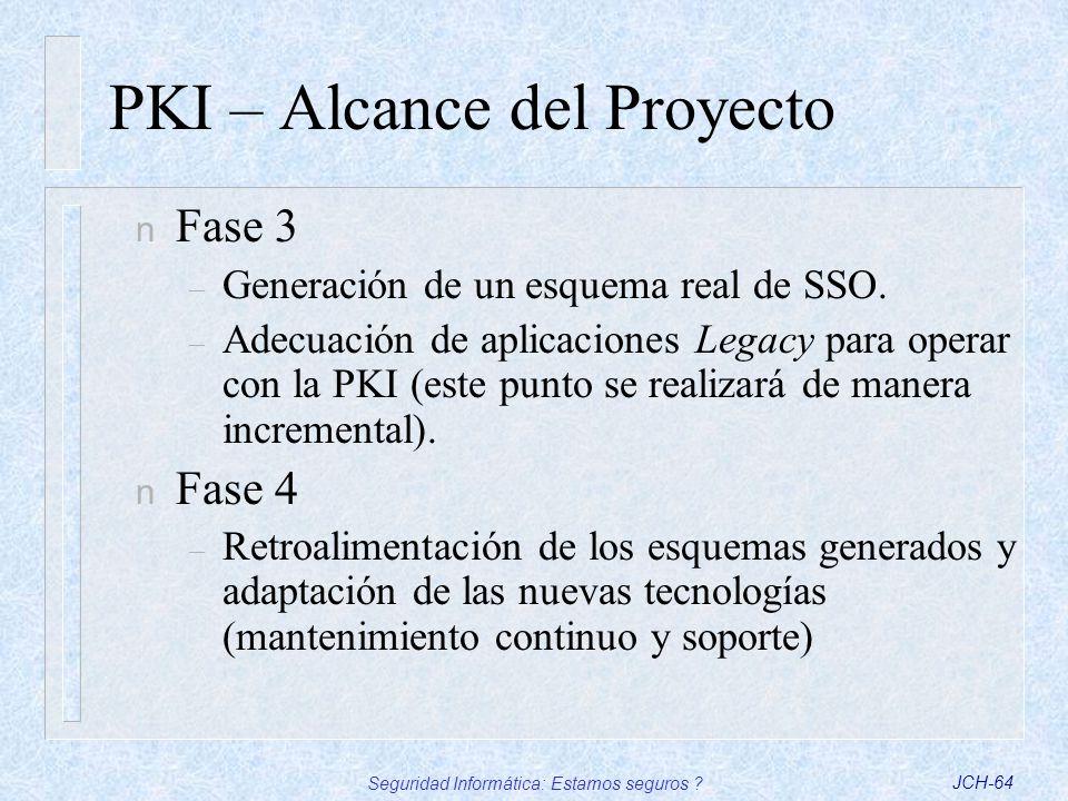 Seguridad Informática: Estamos seguros ?JCH-64 PKI – Alcance del Proyecto n Fase 3 – Generación de un esquema real de SSO. – Adecuación de aplicacione