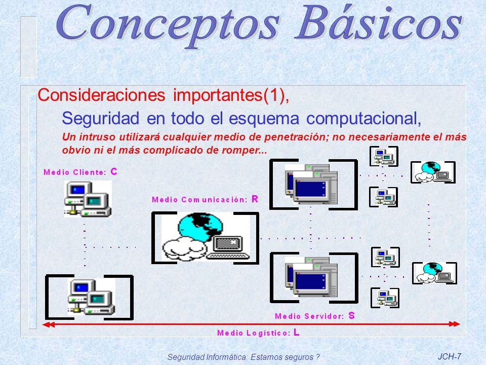 Seguridad Informática: Estamos seguros ?JCH-7 Consideraciones importantes(1), Seguridad en todo el esquema computacional, Un intruso utilizará cualqui