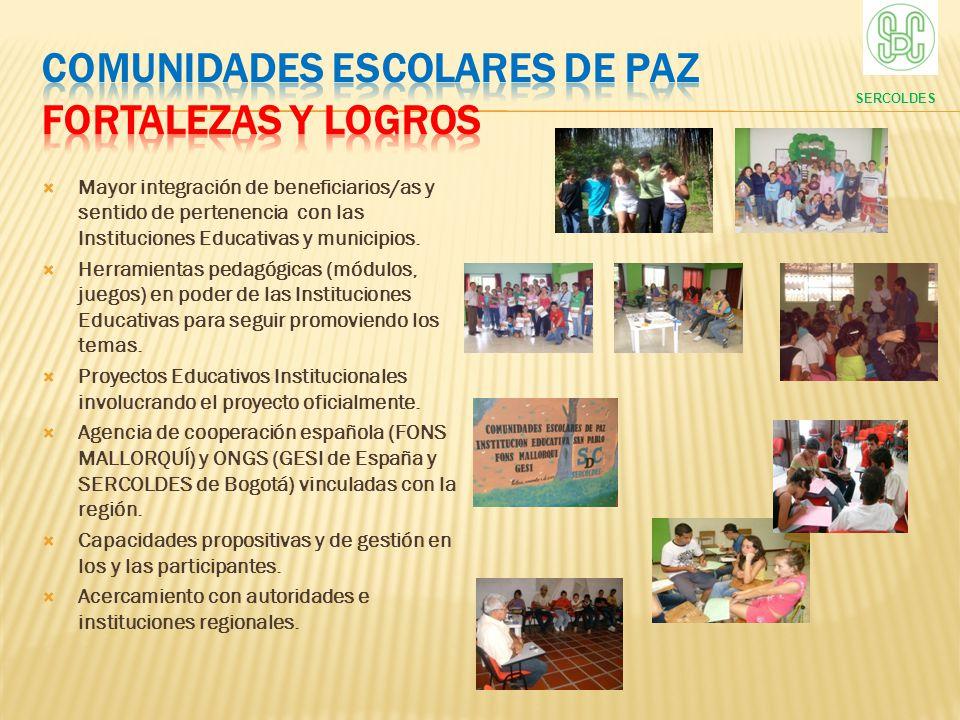 Mayor integración de beneficiarios/as y sentido de pertenencia con las Instituciones Educativas y municipios. Herramientas pedagógicas (módulos, juego