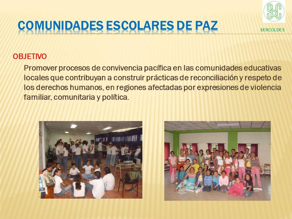 OBJETIVO Promover procesos de convivencia pacífica en las comunidades educativas locales que contribuyan a construir prácticas de reconciliación y res