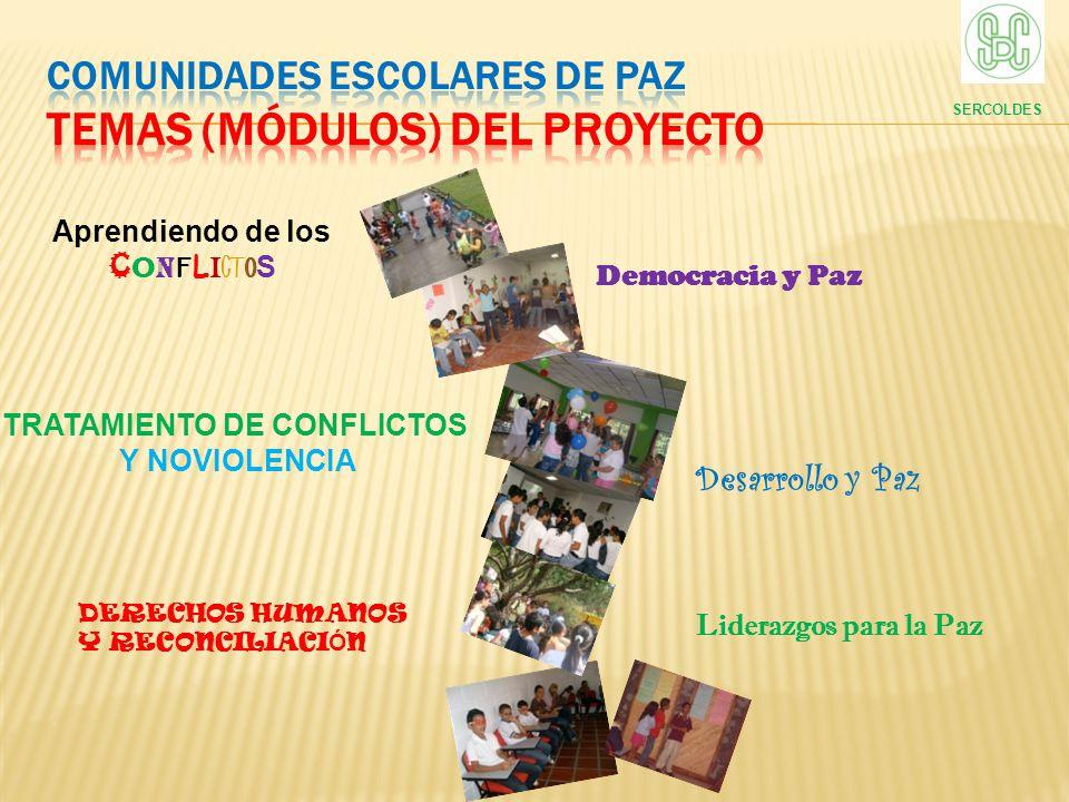 Aprendiendo de los C O N F L I C T O S SERCOLDES TRATAMIENTO DE CONFLICTOS Y NOVIOLENCIA DERECHOS HUMANOS Y RECONCILIACI Ó N Desarrollo y Paz Democrac