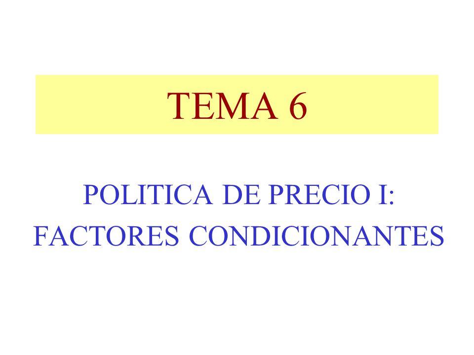 TEMA 6 POLITICA DE PRECIO I: FACTORES CONDICIONANTES