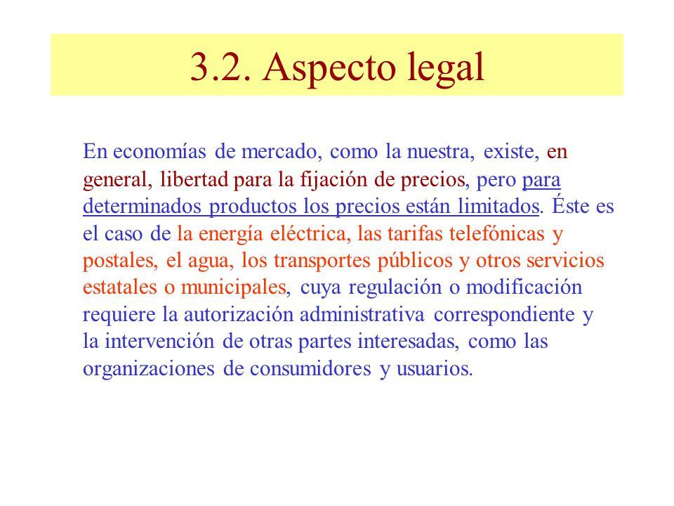 3.2. Aspecto legal En economías de mercado, como la nuestra, existe, en general, libertad para la fijación de precios, pero para determinados producto