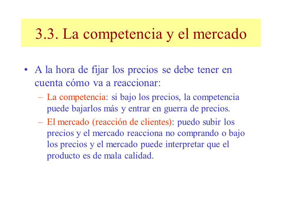 3.3. La competencia y el mercado A la hora de fijar los precios se debe tener en cuenta cómo va a reaccionar: –La competencia: si bajo los precios, la