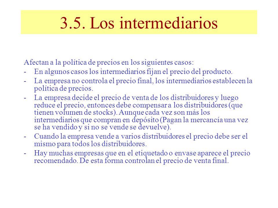 3.5. Los intermediarios Afectan a la política de precios en los siguientes casos: -En algunos casos los intermediarios fijan el precio del producto. -
