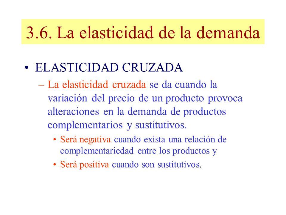 3.6. La elasticidad de la demanda ELASTICIDAD CRUZADA –La elasticidad cruzada se da cuando la variación del precio de un producto provoca alteraciones