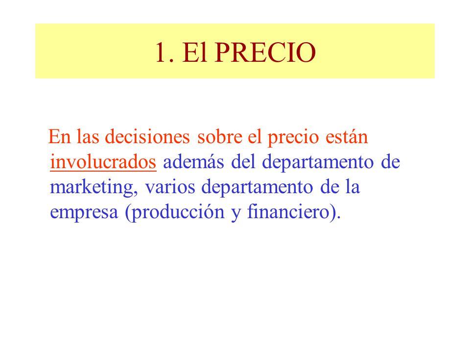 1. El PRECIO En las decisiones sobre el precio están involucrados además del departamento de marketing, varios departamento de la empresa (producción