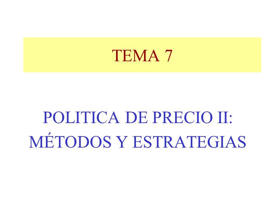 TEMA 7 POLITICA DE PRECIO II: MÉTODOS Y ESTRATEGIAS