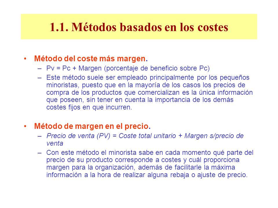 1.1. Métodos basados en los costes Método del coste más margen. –Pv = Pc + Margen (porcentaje de beneficio sobre Pc) –Este método suele ser empleado p