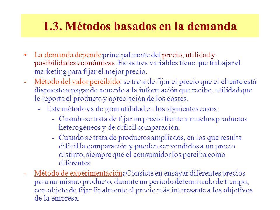 1.3. Métodos basados en la demanda La demanda depende principalmente del precio, utilidad y posibilidades económicas. Estas tres variables tiene que t