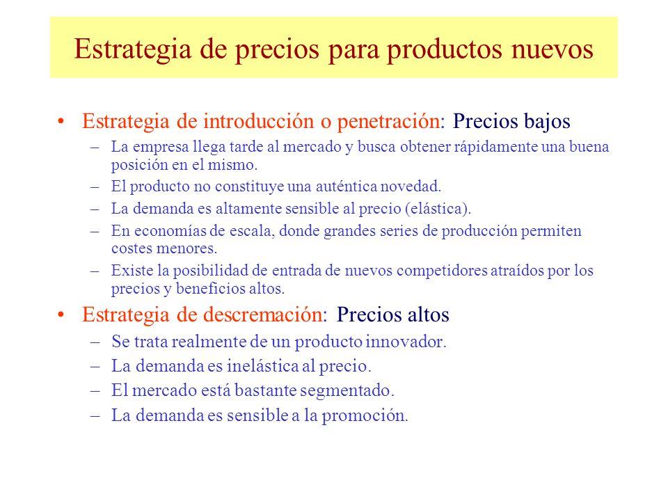 Estrategia de precios para productos nuevos Estrategia de introducción o penetración: Precios bajos –La empresa llega tarde al mercado y busca obtener